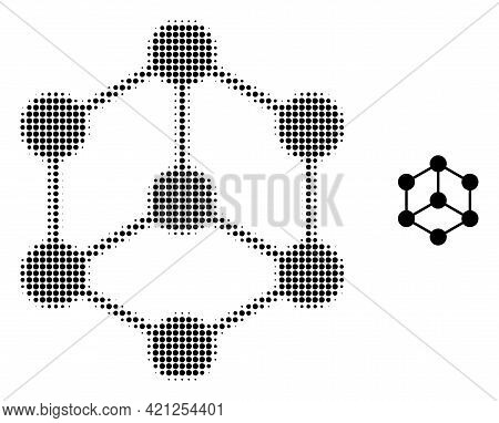 Isometric Cube Halftone Dotted Icon Illustration. Halftone Pattern Contains Circle Pixels. Vector Il