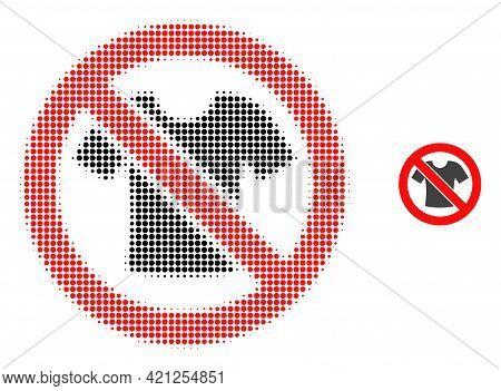Forbidden T-shirt Clothes Halftone Dot Icon Illustration. Halftone Array Contains Circle Elements. V