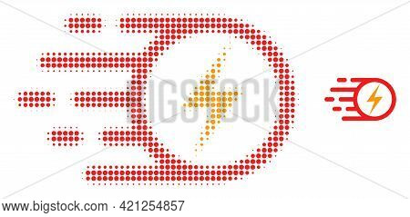Electric Spark Halftone Dot Icon Illustration. Halftone Array Contains Round Points. Vector Illustra
