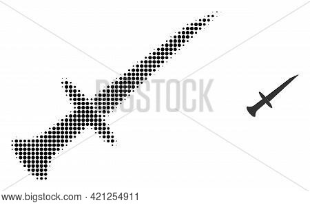 Sword Halftone Dotted Icon Illustration. Halftone Pattern Contains Circle Points. Vector Illustratio