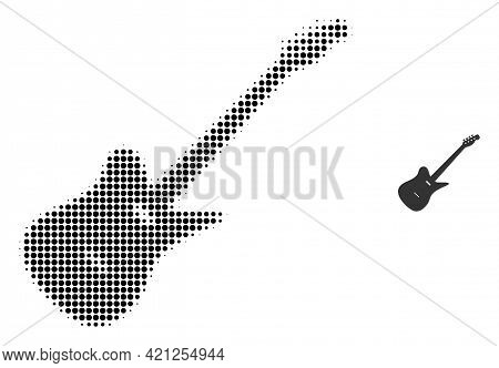 Electric Guitar Halftone Dot Icon Illustration. Halftone Array Contains Round Dots. Vector Illustrat