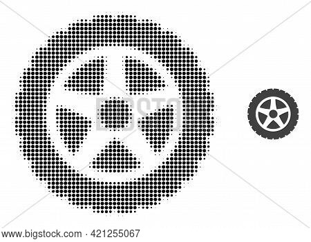 Tire Wheel Halftone Dotted Icon Illustration. Halftone Pattern Contains Round Dots. Vector Illustrat