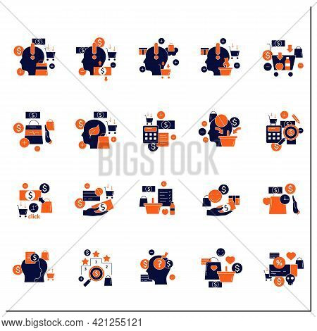 Mindful Spendings Glyph Icons Set. Conscious Buying, Conscious Consumer, Buy Less. Shopaholism, Sale