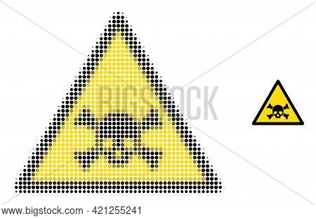 Skull Toxic Warning Halftone Dotted Icon Illustration. Halftone Pattern Contains Round Dots. Vector