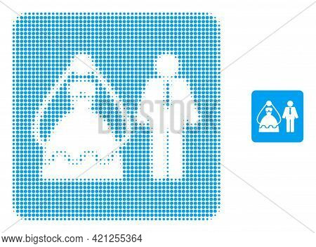 Marriage Persons Halftone Dotted Icon Illustration. Halftone Pattern Contains Round Pixels. Vector I