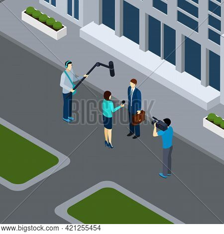 Journalist Reporter Taking Live Interview In The City Center  With Professional Operator Isometric B