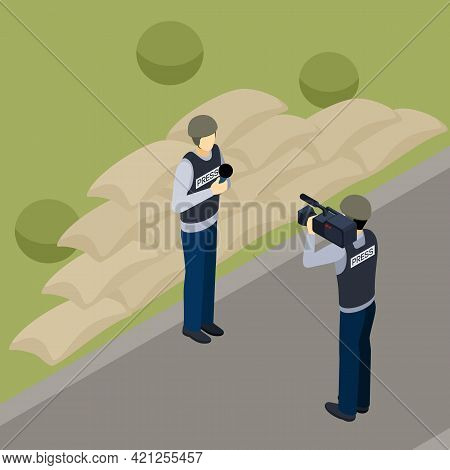 Journalist Reporter And Professional Cameraman Operator Outdoor In The Countryside At Work Isometric