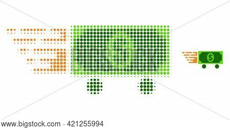 Dollar Delivery Halftone Dot Icon Illustration. Halftone Pattern Contains Round Points. Vector Illus