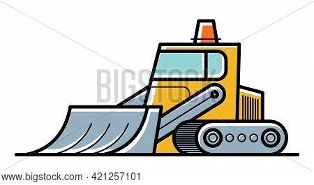 Bulldozer Vector Cartoon Style Icon Isolated On White Background.
