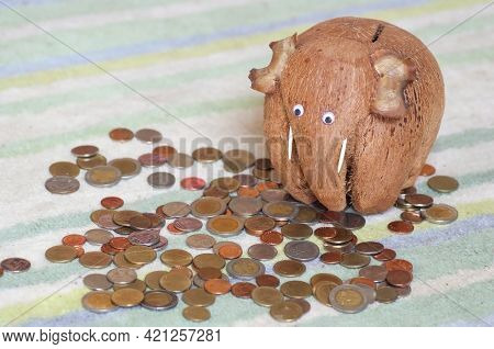 Piggy Bank A Mammoth From Coconut With Big Eyes Looked At The Coins Scattered On The Table