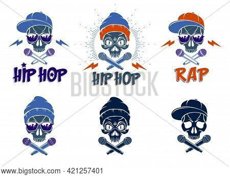 Rap Music Vector Set Logos Or Emblems With Aggressive Skull And Two Microphones Crossed Like Bones,
