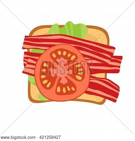 Sandwich With Lettuce Leaf, Bacon And Tomato. Snack. Overhead View Of Isolated Breakfast Snacks On T