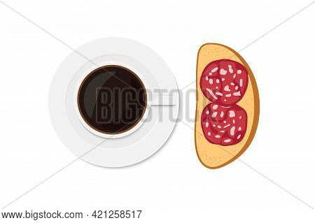 Coffee And Sandwich With Sausage Slices. Overhead View Of Isolated Breakfast Snacks With Sausage Sal