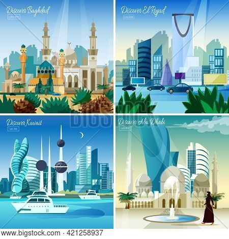 Discover Baghdad Kuwait  And Abu Dhabi Largest Arabic Cities 4 Flat Icons Square Composition Webpage
