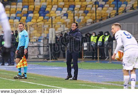 Kyiv, Ukraine - March 11, 2021: Head Coach Unai Emery Of Villarreal In Action During The Uefa Europa