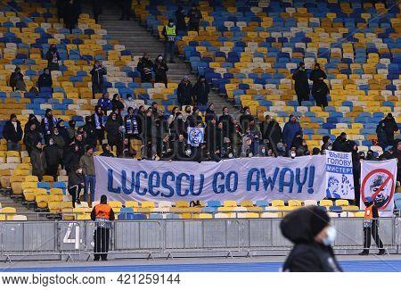Kyiv, Ukraine - March 11, 2021: Dynamo Kyiv Supporters Show Banner