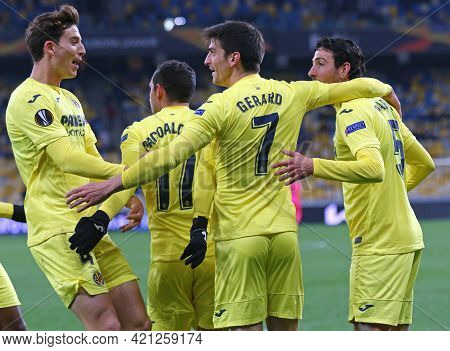 Kyiv, Ukraine - March 11, 2021: Villarreal Players React After Scored A Goal During The Uefa Europa
