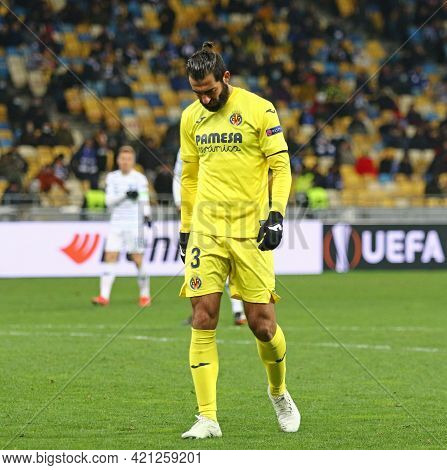 Kyiv, Ukraine - March 11, 2021: Raul Albiol Of Villarreal In Action During The Uefa Europa League Ga