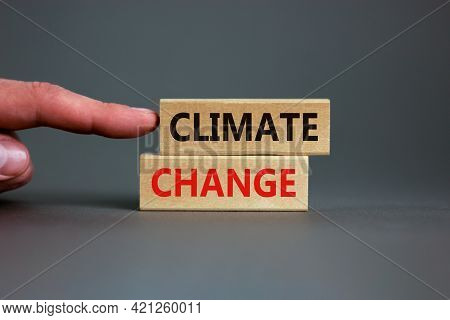 Climate Change Symbol. Wooden Blocks With Words 'climate Change' On Beautiful Grey Background. Busin