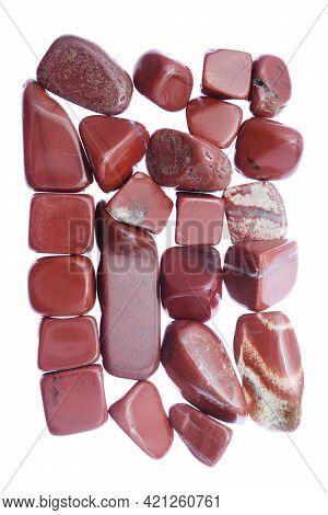 Red Jasper Heap Jewel Stones Texture On White Light Background