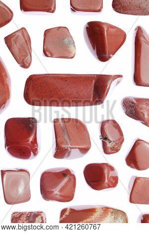 Red Jasper Rare Jewel Stones Texture On White Light Isolated Background