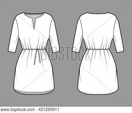 Dress Tunic Technical Fashion Illustration With Tie, Elbow Sleeves, Oversized Body, Mini Length Skir