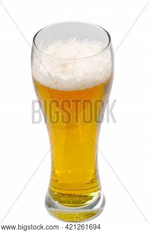 Fresh Cold Beer Glass Isolated On White. Gold Beer Bavaria Oktoberfest With Foam Crown. Pint Of Ligh