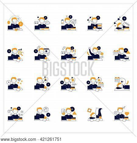 Procrastination Flat Icons Set. Postpone Unpleasant Tasks For Later.delay. Lazy Person. Overwhelmed
