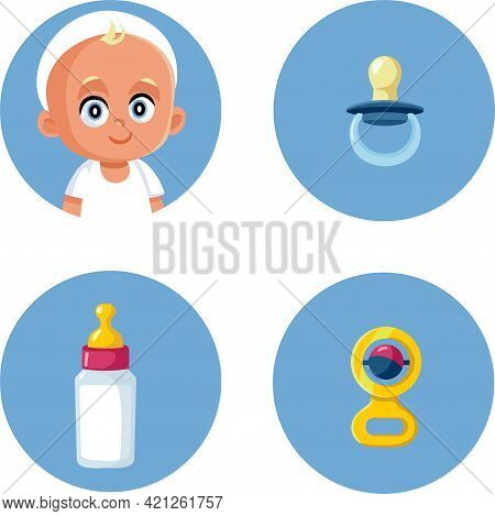 Baby, Pacifier Milk Bottle And Rattle Toy Vector Icon Set