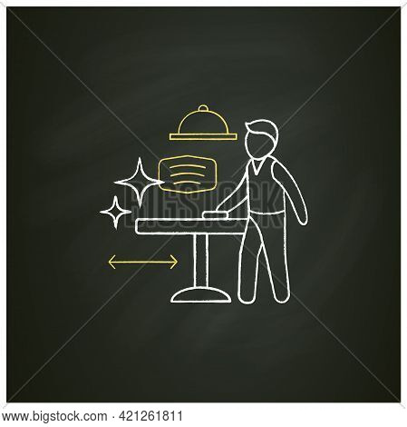 Disinfection Chalk Icon.employee Disinfect Tables. Wet Cleaning.furniture Disinfect.regulation Throu