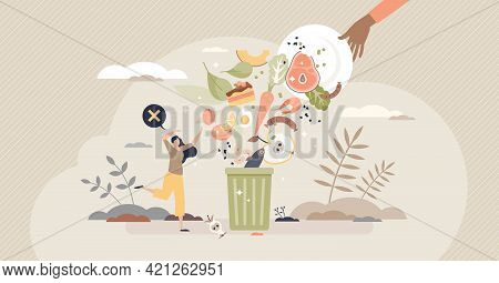 Food Waste And Meal Leftovers Garbage Reduce Awareness Tiny Person Concept. Throw Away Groceries In