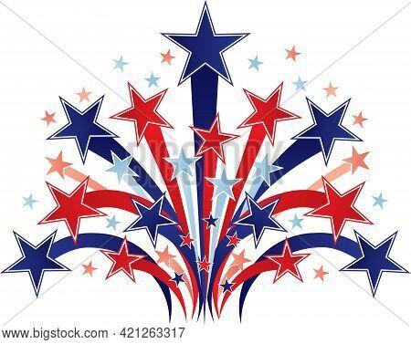 Patriotic Red White And Blue Stars Starburst Graphic