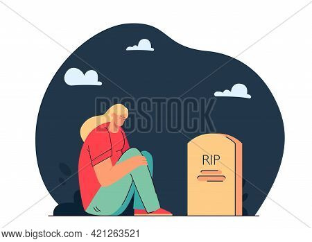 Girl Mourning Loss Of Loved One. Flat Vector Illustration. Cartoon Woman Sitting By Gravestone In Da