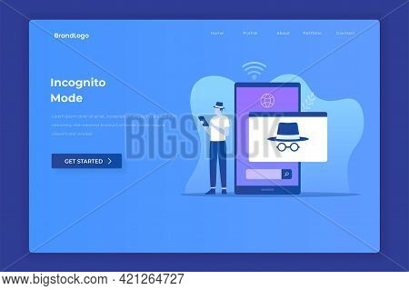 Flat Design Of Incognito Browsing Concept. Illustrations For Websites, Landing Pages, Mobile Apps, P