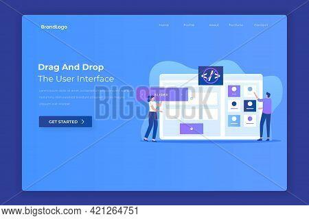 Drag And Drop Website Builder Landing Page Concept. Illustration For Websites, Landing Pages, Mobile