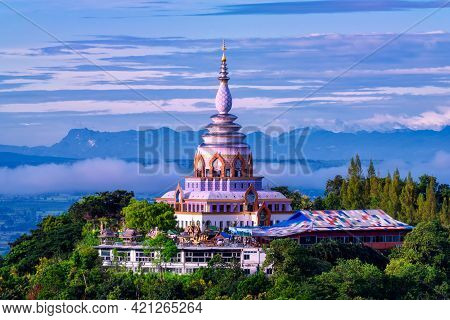 Beautiful Pagoda Of Tha Ton Temple Set Amid Green Mountains In Chiang Mai,thailand. Place For Religi