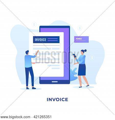 Flat Illustration Electronic Invoice Concept Design