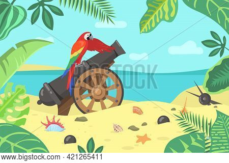 Cartoon Exotic Parrot Sitting On Cannon On Seashore. Colorful Macaw On Old Military Weapon, Seashell