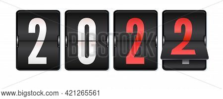 New 2022 Year Is Coming. Mechanical Scoreboard With Numbers 2022. Realistic Mechanical Counter Isola