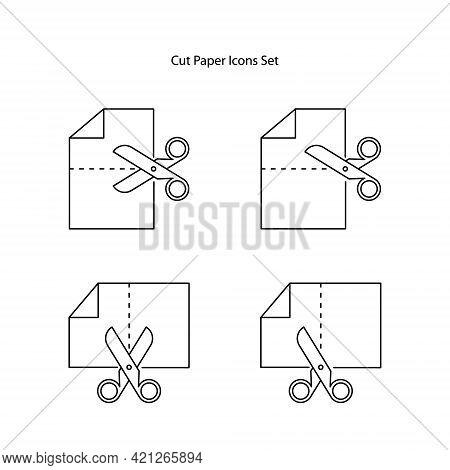Cut Line Scissors Set, Editable Strokes. Paper Cut Icons. Vector Scissors With Cutting Lines.