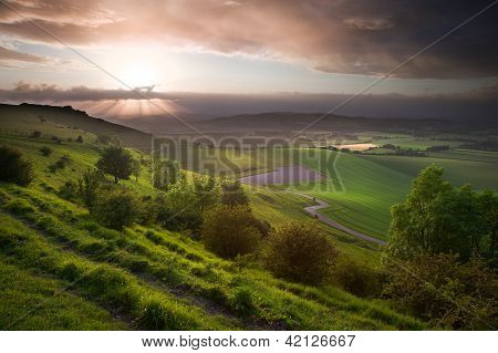 Beautiful English Countryside Landscape Over Rolling Hills