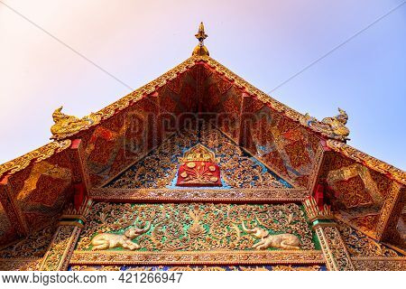 A Front Roof Of Buddhist Temple At Wat Phra That Doi Tung, A Famous Temple And Buddhism Place. It's