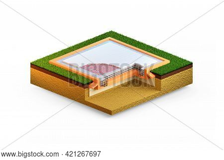 Insulated Reinforced Cement Slab Foundation. Isolated Cgi Industrial 3d Illustration