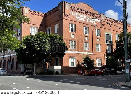 Brisbane, Australia - May 18, 2021: View Of The Elder Smith Woolstore Built In 1926 On The Teneriffe