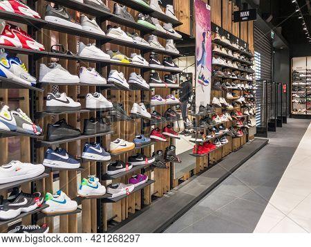 Zabrze. Poland 8 Maj 2021. Interior Of Retail Centre Store In Platan City Center Zabrze. People Shop