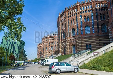 Vienna, Austria - April 27, 2018: At The Vienna Gasometers On A Sunny April Day