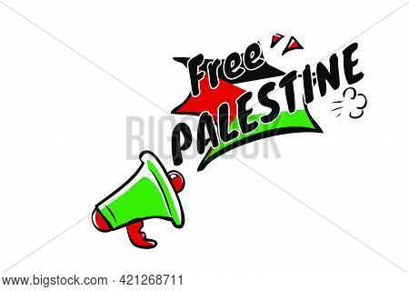 Vector Hand Draw Sketch Sign, Bullhorn Or Megaphone, With Text Save Palestine, For Demonstration Pla