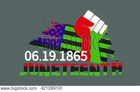 Juneteenth Freedom Day With Ribbon And Flag Vector For Banner Print