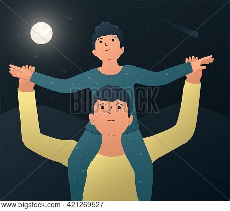 Father And Son. Vector Illustration Of A Happy Father With His Son Sitting On His Shoulders And Watc