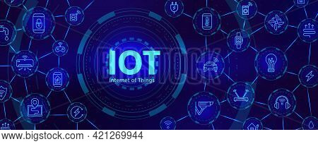 Iot Technology. Digital Banner For Internet Of Things Or Smart Home Device Network With Icons. Futur